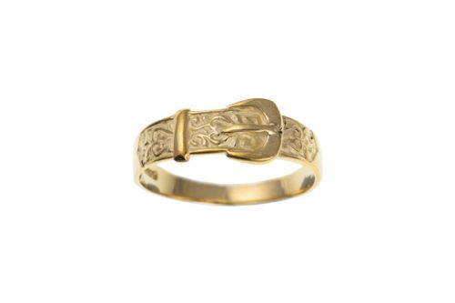 Yellow Gold Ladies Patterned Buckle Style Ring